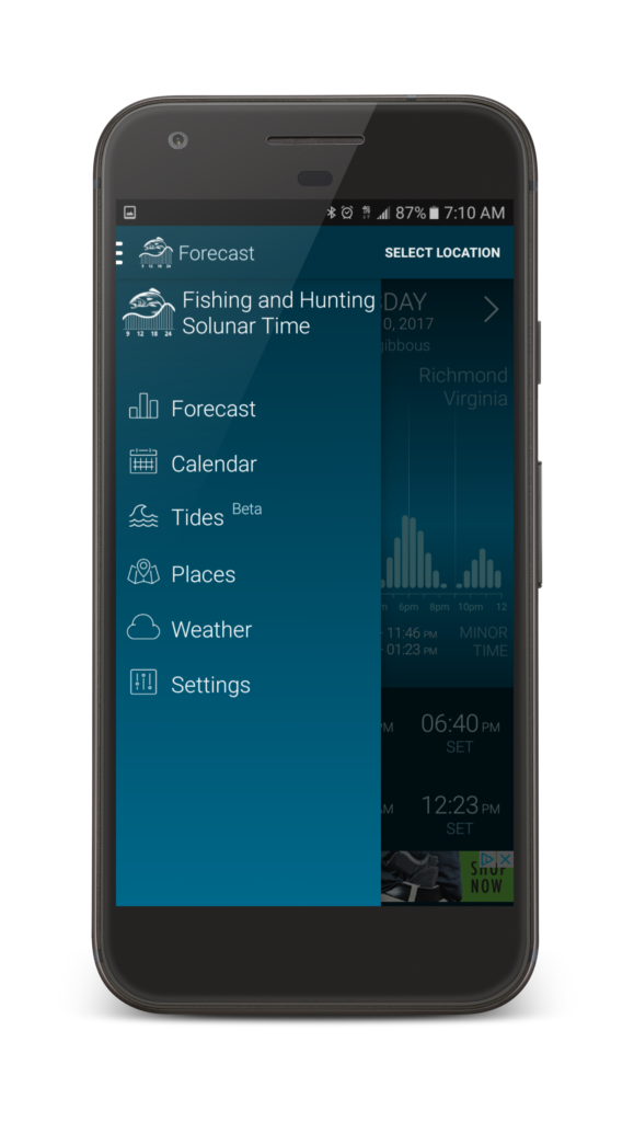Hunting Fishing solunar Time App Weather Forcast